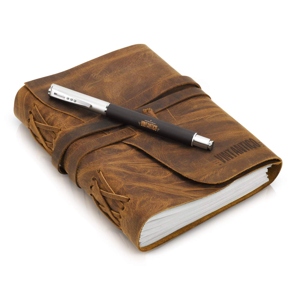 Vintantico Genuine Leather Journal with Writing Pen (Brown) Vintage, Bound, Handmade Cover Recycled Unlined Paper | Men's & Women's Personal Notepad | Incl. Bookmark, Gift Box
