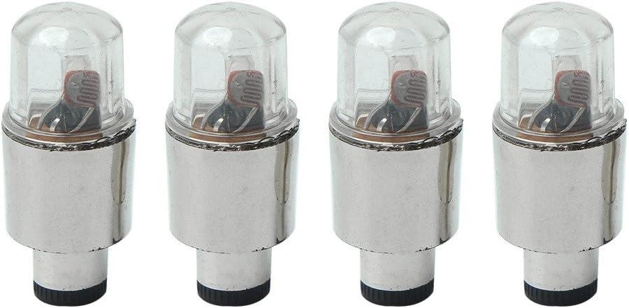 4x Bouchons de Valves Lumineux Pneu LED pour Voiture V/élo 12 Piles Bouton
