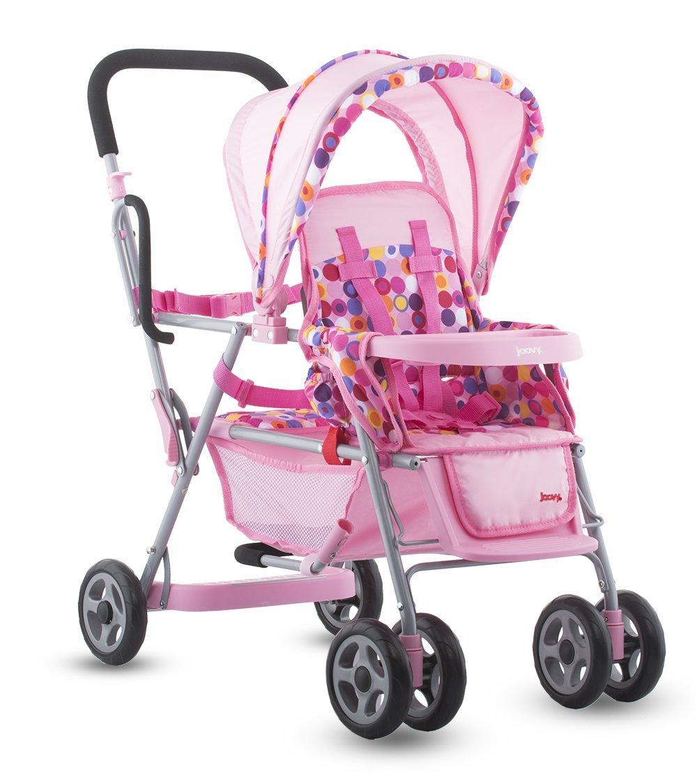 Toys For Strollers : Joovy toy doll caboose tandem stroller pink dot