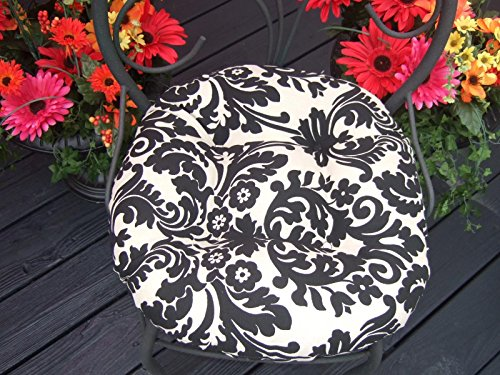 Resort Spa Home Decor Indoor/Outdoor Round Tufted Bistro Cushion with Ties - Black and Ivory Damask Scroll Fabric - Choose Size (16