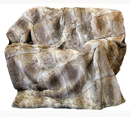 Amazon CX FUR Genuine Rabbit Fur Blanket Natural Brown Home Stunning Real Mink Throw Blanket