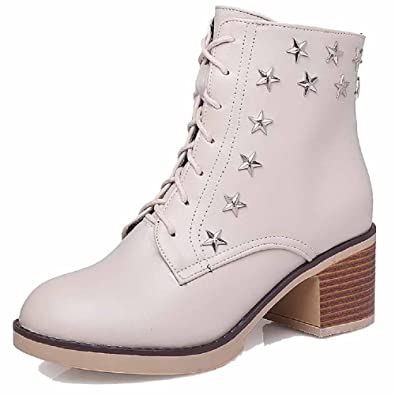 Women's Round Closed Toe Low-top Kitten-Heels Solid Artificial Cow Leather Boots