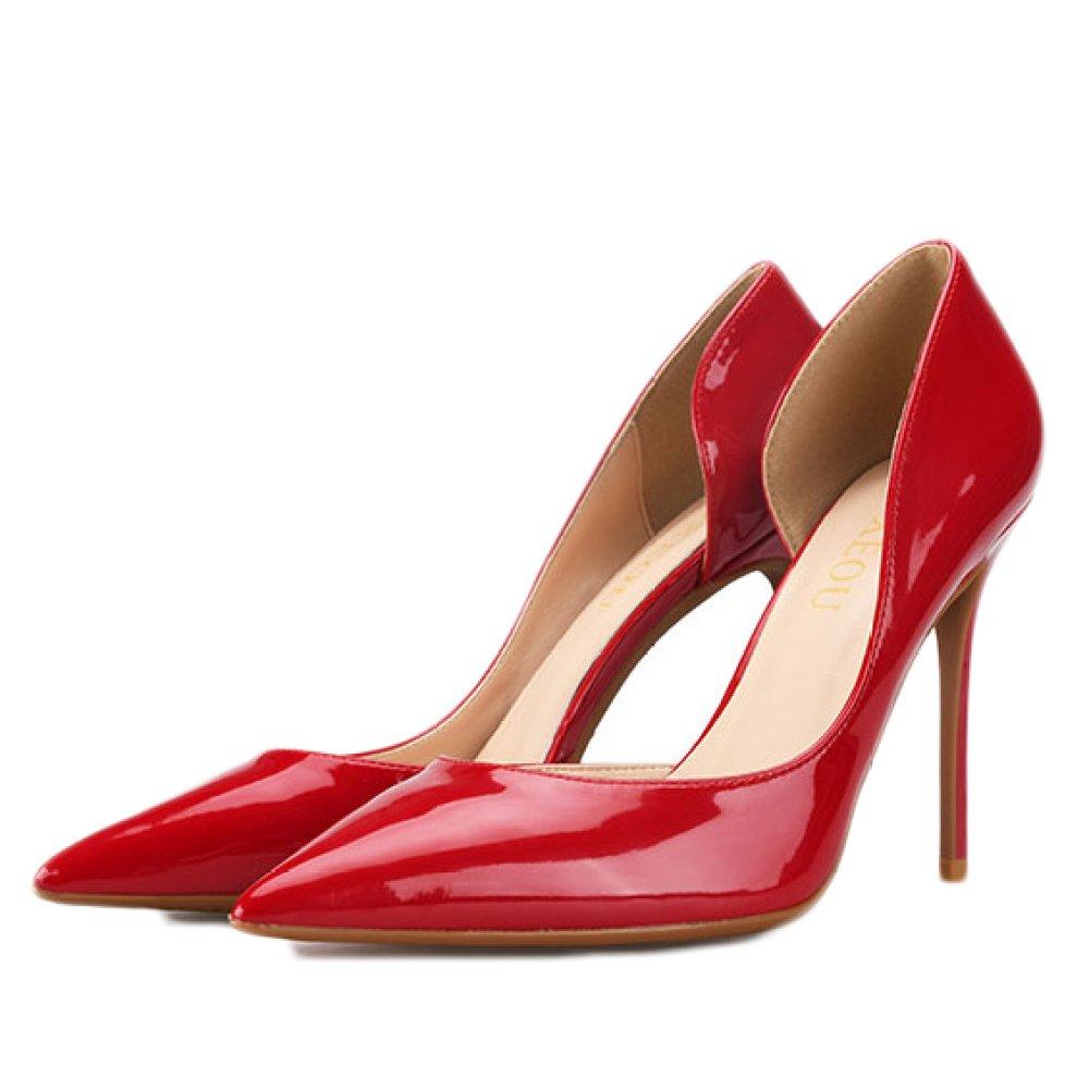 Snfgoij Frau Schwarz High Heels Fashion Sexy Arbeit Court Schuhe Hochzeit,rot-6cm-EU 34 UK 2