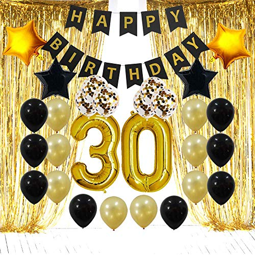 30th Birthday Decorations Gifts for Her Him(Men Women) - Dirty 30 Birthday Party Supplies Happy Birthday Banner, Gold Foil Fringe Curtains, 30 Gold Number Balloons and Confetti Balloons