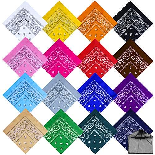 URATOT 16 Pieces Paisley Bandanas Cowboy Bandana Handkerchiefs Paisley Print Head Wrap Scarf, Assorted 16 Colors (Mixed 16 colors -