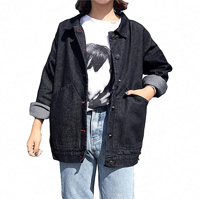 Womens Denim Jacket Harajuku Style Jean Jacket Loose Basic