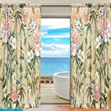 Cheap Vintage Watercolor Birds Flowers Sheer Curtain for Living Room Bedroom,55 x 84 Inches Long,Beige,Window Treatments,Rod Pocket,Polyester Fabric,Set of 2 Panels