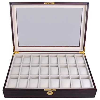 Amazoncom Ebony Wood Glass Top 24 Watch Slots Display Case 17in L