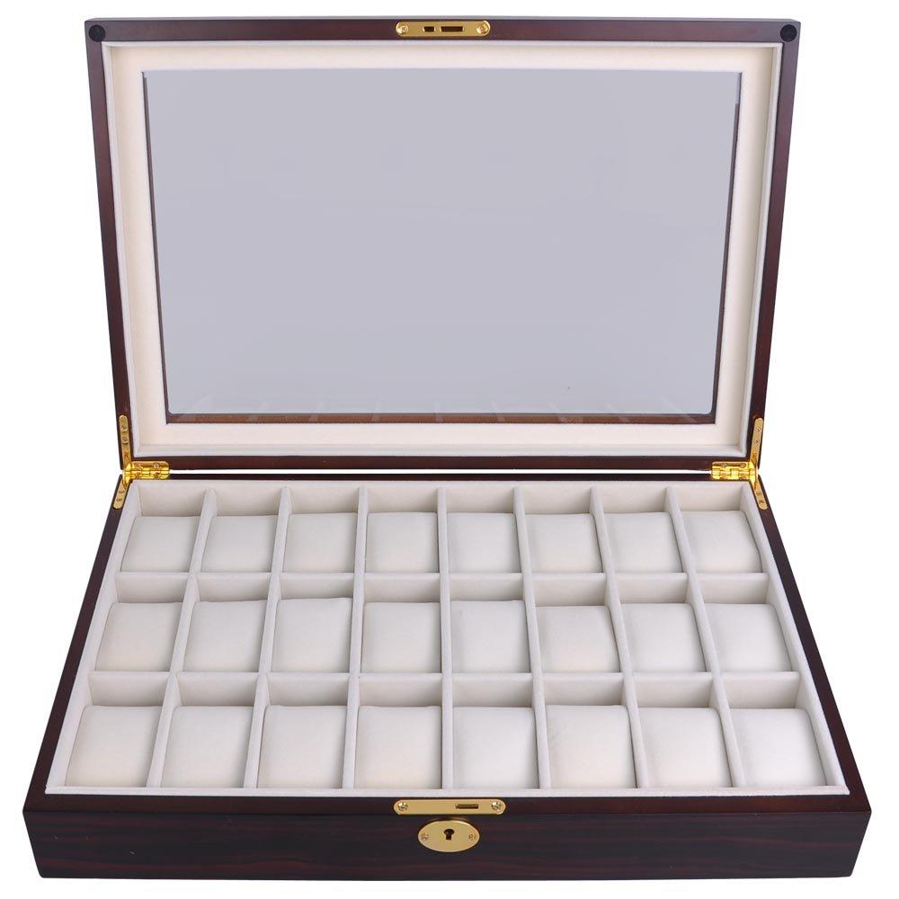 Ebony Wood Glass Top 24 Watch Slots Display Case 17-in L Jewelry Box Wristwatch Organizer w Gold Accents