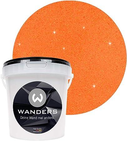 Wanders24 Effet Brillant 1 Litre Orange Doré Peinture Murale Avec Paillettes Peinture Murale Effet Pailleté Peinture Murale à Effet