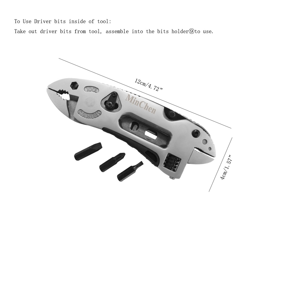 MinChen Wrench Multi-Purpose Handy Tool New Multitool with Pliers Wire cutter Adjustable Wrench Outdoor Knife with Multi-tool Pliers & Spanner by MinChen (Image #3)