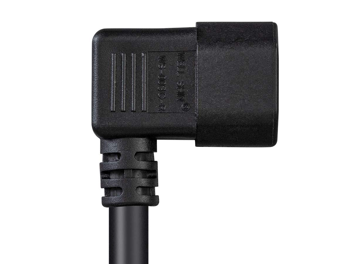 100-250V Black 6 Feet 15A SJT Right Angle IEC 60320 C14 to IEC 60320 C13 Monoprice Right Angle Power Cord 14AWG