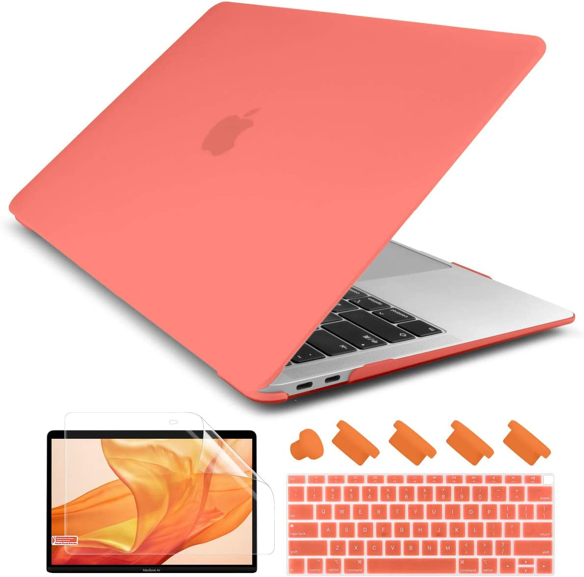 Dongke Newest MacBook Air 13 inch Case 2020 2019 2018 Release A2179/A1932, Rubberized Frosted Matte See Through Hard Case Cover for MacBook Air 13.3 inch with Retina Display Touch ID - Living Coral