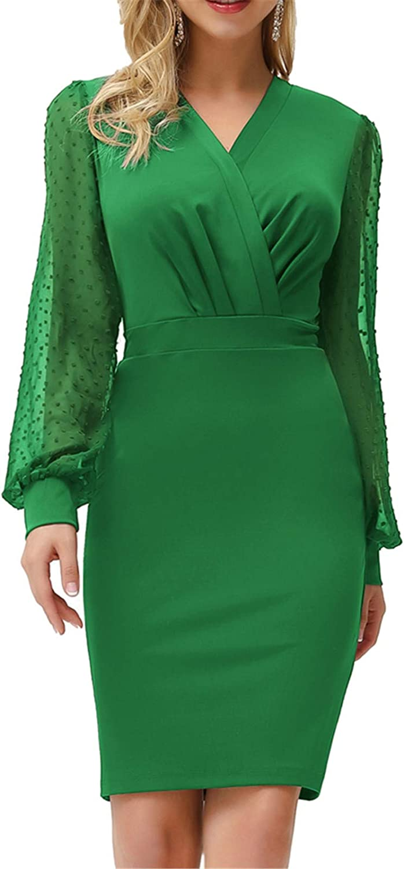 GRACE KARIN Women's Elegant Mesh Contrast Bishop Sleeve V Neck Bodycon Pencil Dress