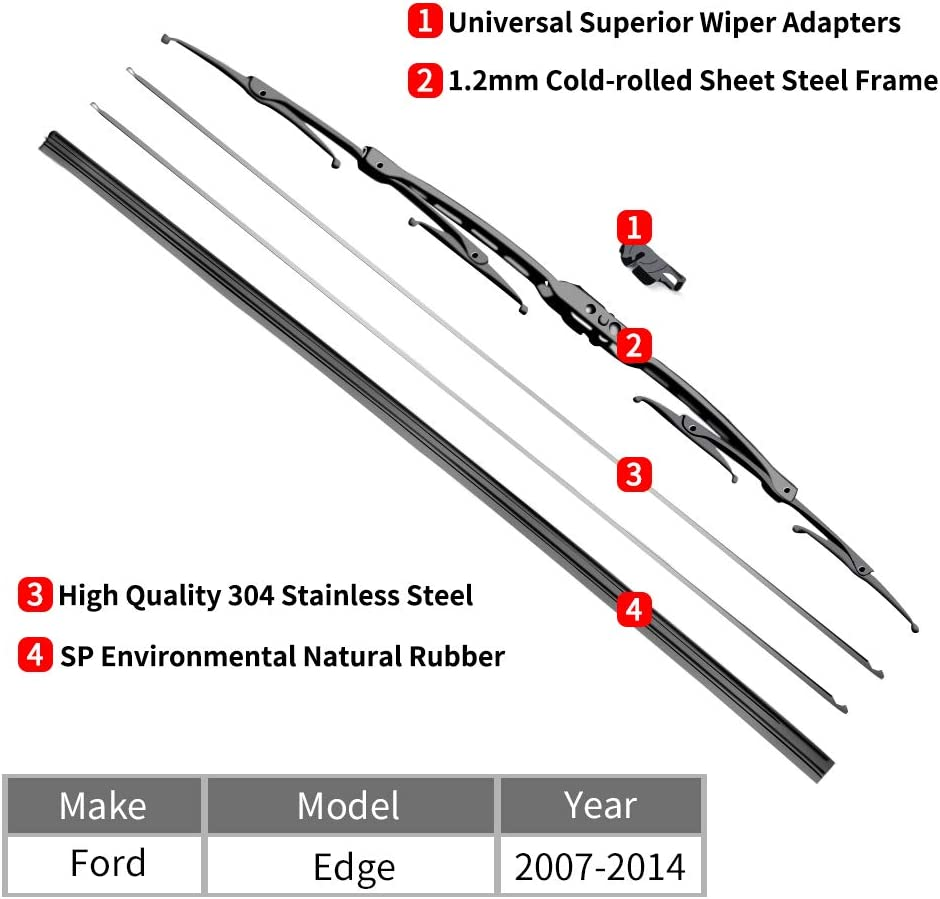 For Ford Edge Windshield Wiper Blades fit 2007-2014 Vehicles OTUAYAUTO Factory Aftermarket 26+20 Front Window Wiper