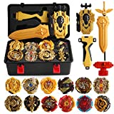 MANZY 12 pcs Bayblades Burst Evolution Metal Fusion with 2 Launchers Gyro Battling Game Starter Pack Set 12 Spinning Top + 2 Launcher