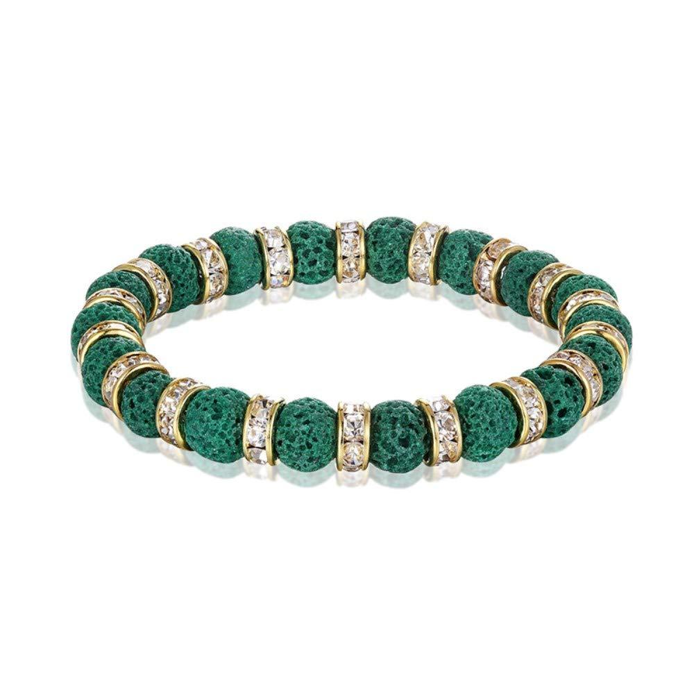 Bracelet Men,Fashion Volcanic Stone Charm Green Bracelet Men's 8Mm Handmade Natural Stone Bead Bracelet Women's Accessories