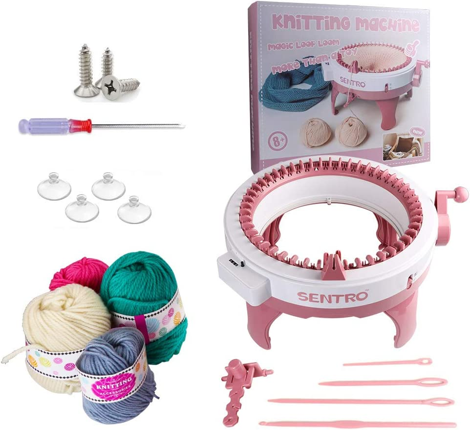 Knitting Machine, 48 Needles Smart Weaving Loom Round Spinning Knitting Machines with Row Counter, Knitting Board Rotating Double Loom, Weaving Loom Machine Kit for Adults Kids OrAdults