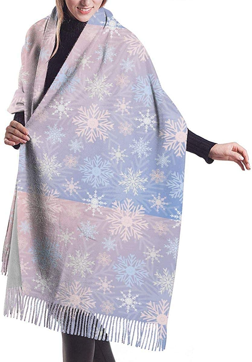 Snowflake Cashmere Scarf Shawl Wraps Super Soft Warm Tassel Scarves For Women Office Worker Travel