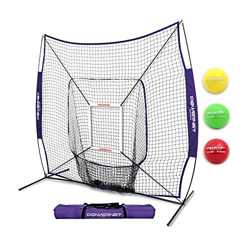 PowerNet DLX 2.0 System (Puple) | 7x7 Baseball Hitting Net + Weighted Training Ball 3 Pack + Strike Zone | Swing Harder | Throw Faster | Build Pitch & Hit Specific Muscle Groups Pitching Accuracy