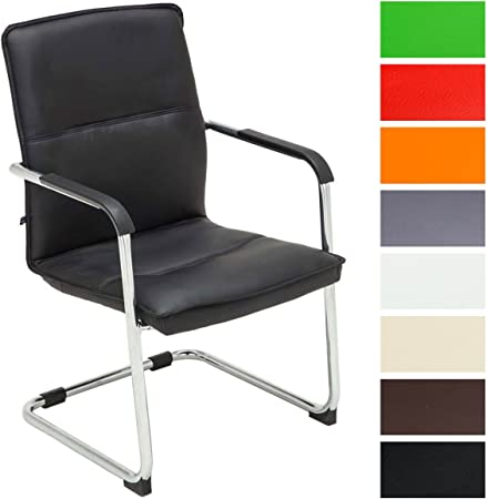 CLP Chaise Cantilever Seattle Similicuir I Chaise Design avec Piétement Luge I Assise Dossier Et Accoudoirs Rembourrés I Confortable Et Ergonomique :