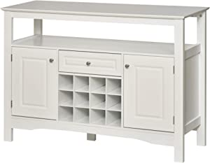 HOMCOM Modern Wooden Kitchen Buffet Bar Cabinet Storage with Drawer and 12-Bottle Wine Rack for Living Room, White