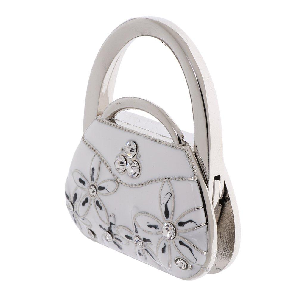Accroche Sac Porte-Sac Crochet de Sac à Main Pliable Forme de Sac de Porcelaine (Blanc)