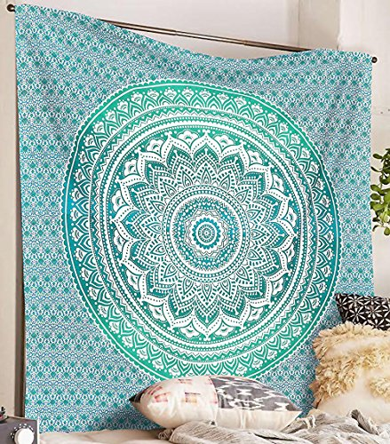 SheetKart Mandala Hippie Indian Traditional Wall Hanging Large Tapestry Beach Throw - Valley Mist