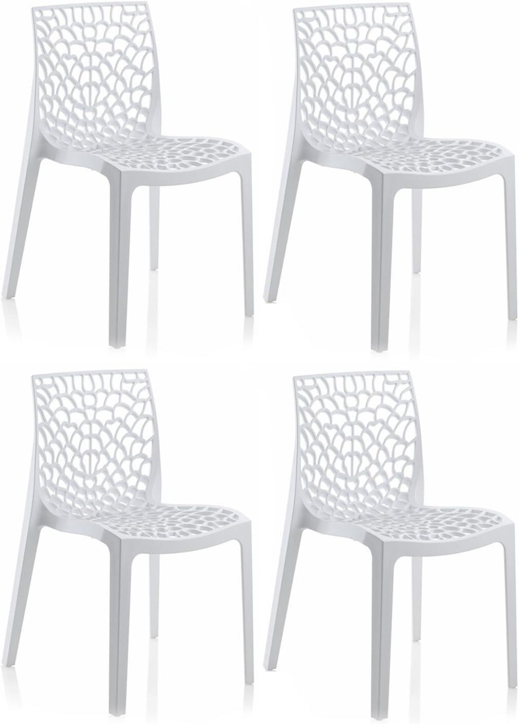 Lot et chaises en GRUYER Collection qualité – ajourées empilables Confort 4 Meubletmoi Haute – de et de Blanc Produit polypropylène Design IYgf7bymv6