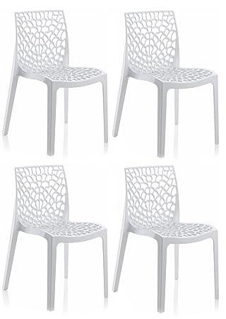 Meubletmoi Lot De 4 Chaises Design Ajourees Et Empilables