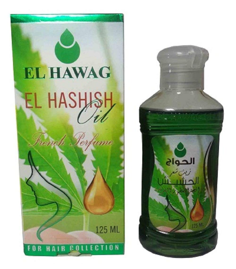 El Hashish Green Grass Oil El Hawag For Hair Care Scalp Growth Strengthen Loss Natural Halal Moisturizer Pure Egyptian Egypt (1 Pack = 4.41 oz / 125 ml) For External Use Only All Types Hair