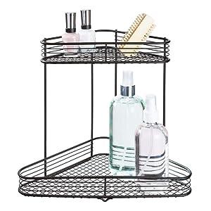 InterDesign Vienna 2-Tier Corner Shelf for Cosmetics and Toiletry Storage, Bathroom, Countertop, Desk, and Vanity