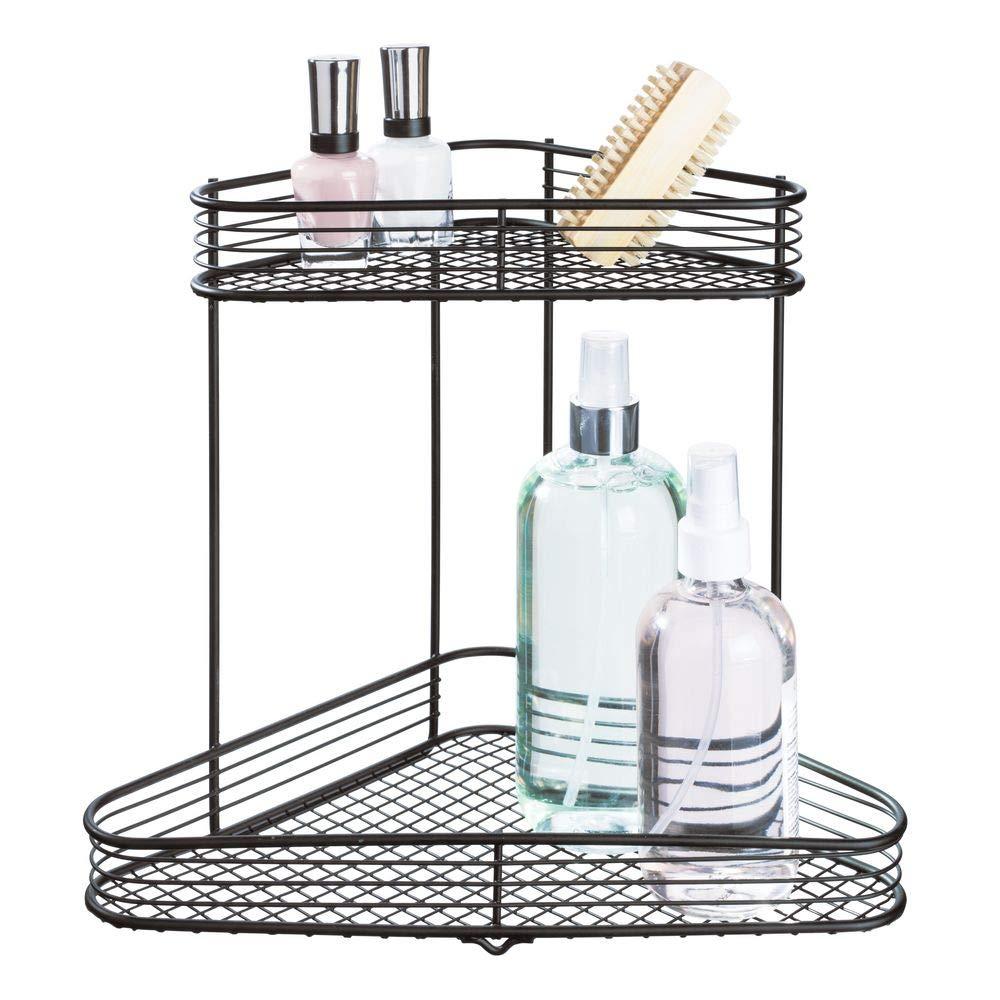 InterDesign Vienna Metal Wire Corner Standing Vanity Caddy, 2-Tier Shelf Baskets for Countertops, Desks, Dressers, Bathroom, 9'' x 6.2'' x 10.5'', Matte Black