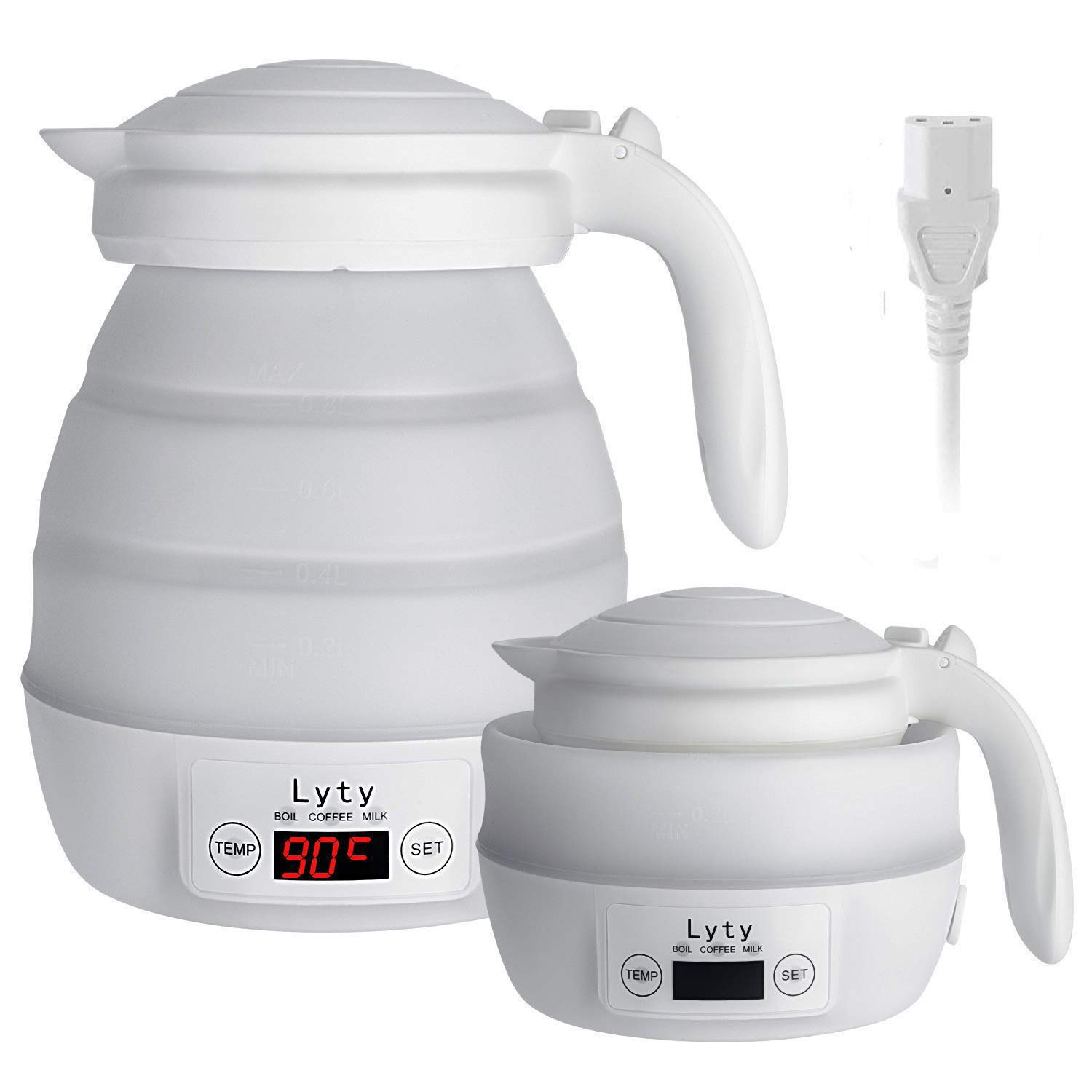 Dual Voltage Collapsible Travel Electric Kettle - 220v/110v/120v [Any Exact Temp Control] Small Fast Water Boiling-Separable Cord-Portable-Food Grade Silicone Foldable Kettle-.8L 850W(White)