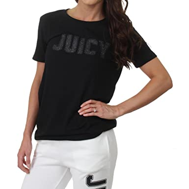 057234ac9ab6 Amazon.com  Juicy Couture Womens Athletic Classic Logo T-Shirt Black M   Clothing