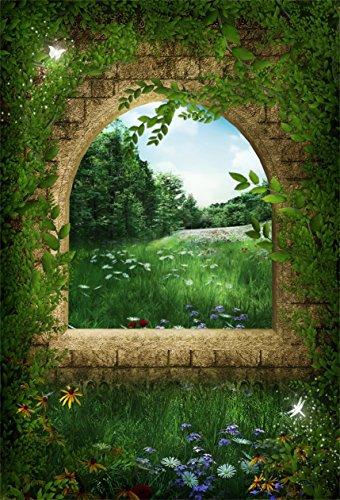 AOFOTO 4x6ft Garden Archway Photography Backdrop Spring Wonderland Background Dreamy Retro Arch Window Vines Leaves Flowers Grass Kid Girl Baby Art Portrait Photo Studio Props Vinyl Wallpaper