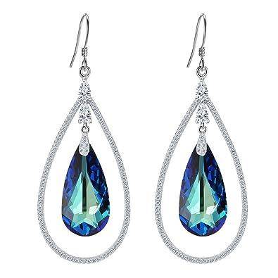 Clearine Women's 925 Sterling Silver Elegant Wedding CZ Teardrop Hook Dangle Earrings Adorned with Swarovski Crystals iPHC7rW5