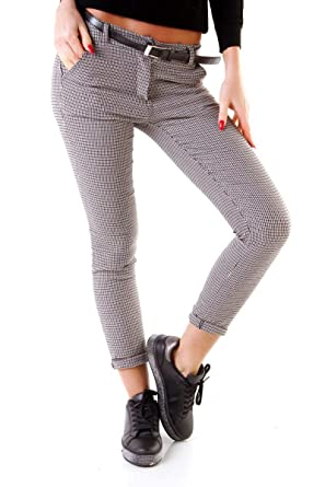 4ce2ba1173 OSAB-Fashion 10213 Damen Hose Treggings Business Karo Kariert Damenhose  Pants Gürtel: Amazon.de: Bekleidung