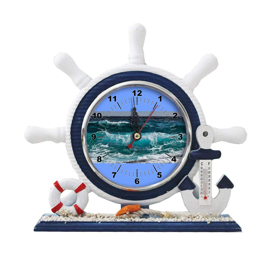 GIRLSIGHT1 Desk/Table Decor Mediterranean Nautical Ship Clocks Living Room Clocks Decoration Blue Sailboat Ornaments-109.City of North Myrtle Beach advises