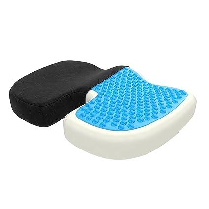 ZenPur® Cojín Coxis Ortopédico Viscoelástico – Cojín Asiento Alivia Dolor Lumbar y de Espalda –