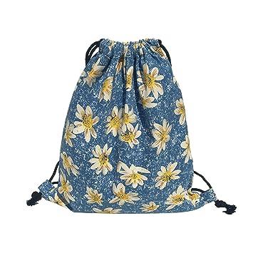 iSuperb - Mochila de tela con cordón para senderismo, ligera, diseño bonito, Daisy: Amazon.es: Deportes y aire libre