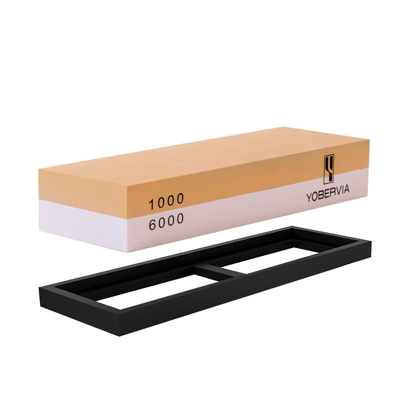 Knife Sharpening Stone, 2-Sided Whetstone with Non-Slip Base, Best Kitchen Blade Sharpener, Grit 1000/6000 Waterstone by YOBERVIA