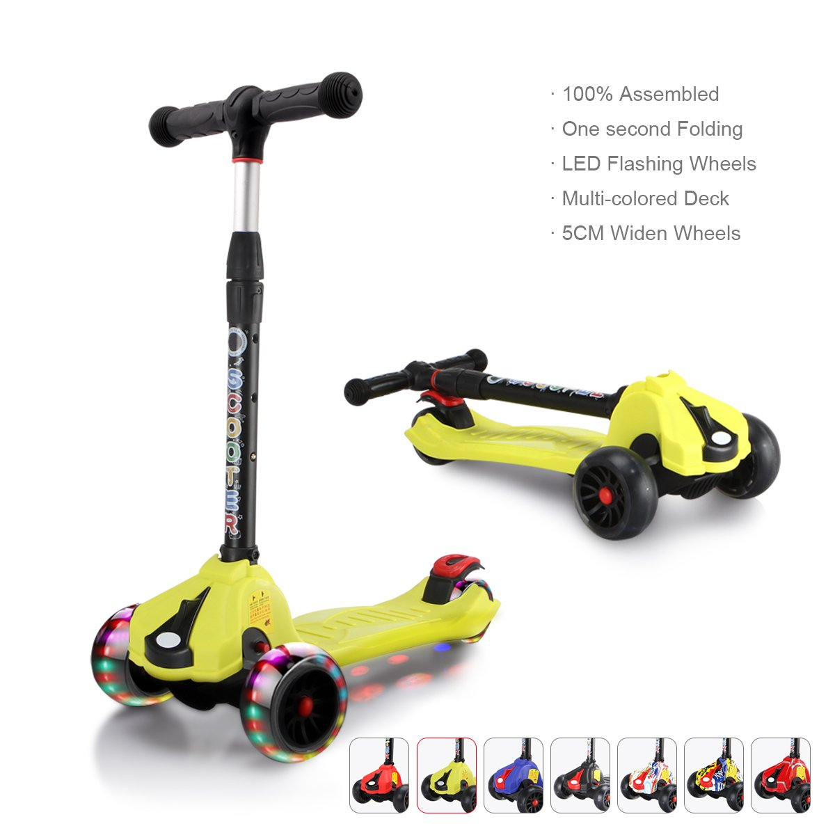 XJD Kids Scooters Adjustable Height Toddler Scooters 3 Wheel Folding Extra-Wide Deck 5CM Big PU Flashing Wheels 100% Assembled (Yellow)