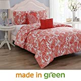 """Wonder Home 5 Pieces Oversized King Comforter Set Cotton Shell Polyester Filling, Luxury Valentines Coral Paisley Comforter, 2 Shams, 1 Embroidered Pillow, 1 Pintuck Pillow, King, 106""""x96"""""""