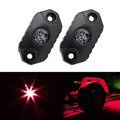 4WDKING Red LED Rock Lights, 2 Pods IP68 Waterproof Underbody Glow Trail Rig Lamp LED Neon Lights for Truck Jeep Off Road Truck Car Boat ATV SUV Motorcycle: Automotive