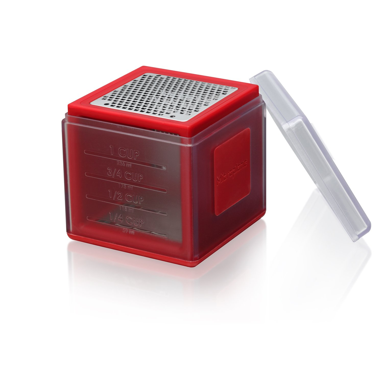 Microplane Mini Box Grater with Zester and Measuring Cup - Red