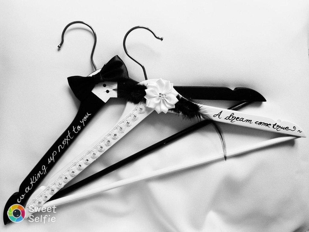 Bride Hanger Wedding Set Groom&Bride Wooden Hand Painted Bride to Be (White&Black)