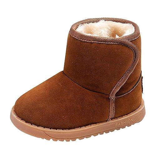 Botas De Nieve Botines Chicos Chicas Calientes Botas De Invierno De Confort Botas De Felpa De Ante Color Sólido Botines De Fondo Plano