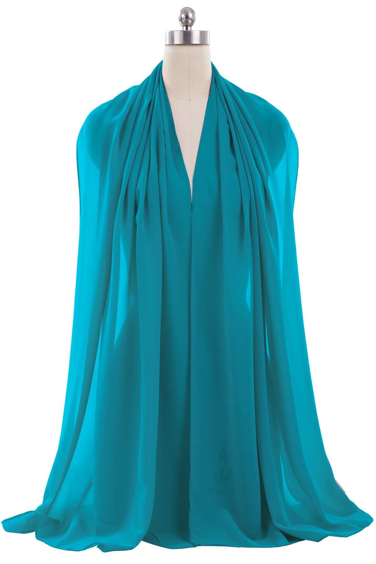 ANTS Women's Chiffon Bridal Evening Dresses Shawl Wraps Color Teal Blue Size 18''x78''