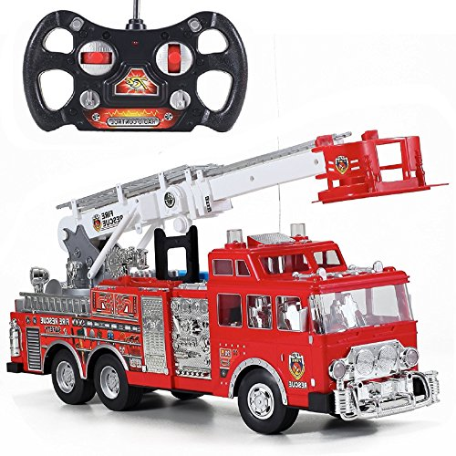 Camion de pompiers - Le meilleur jouet pour garçon - Véhicule radio commandé avec sons et lumières, échelle pivotante - muni d'une lance à incendie et d'une sirène.